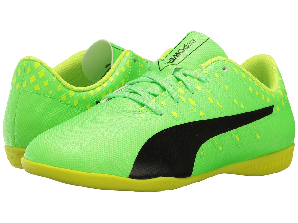 Puma Kids evoPower Vigor 4 IT Jr Soccer (Little Kid/Big Kid) (Green Gecko/Puma Black/Safety Yellow) Kids Shoes