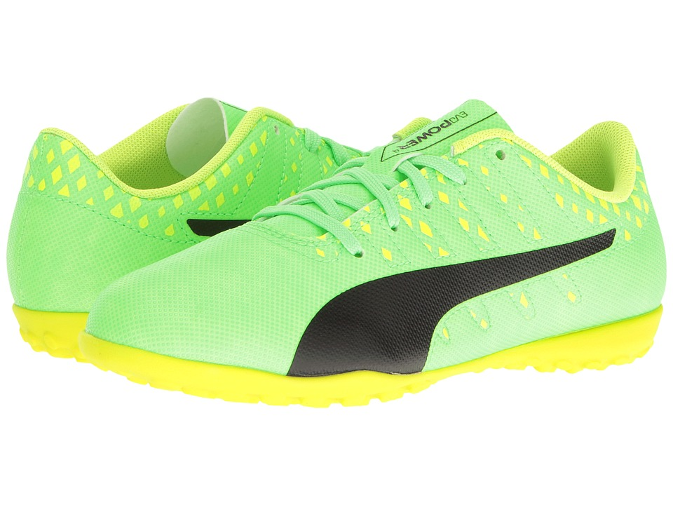 Puma Kids - evoPower Vigor 4 TT Jr Soccer (Little Kid/Big Kid) (Green Gecko/Puma Black/Safety Yellow) Kids Shoes