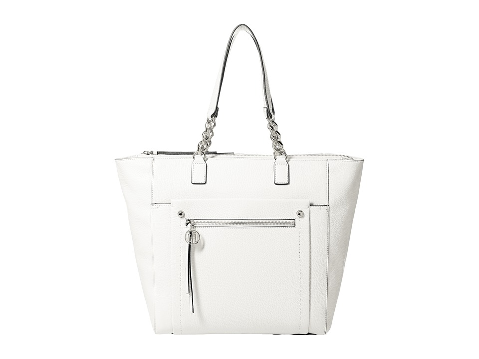 Tommy Hilfiger - Tessa - Pebble Leather Tote (White) Tote Handbags