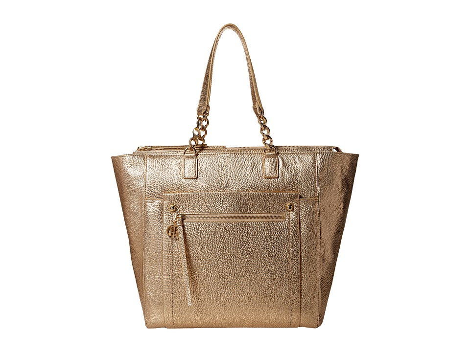 Tommy Hilfiger - Tessa - Pebble Leather Tote (Metallic Gold) Tote Handbags