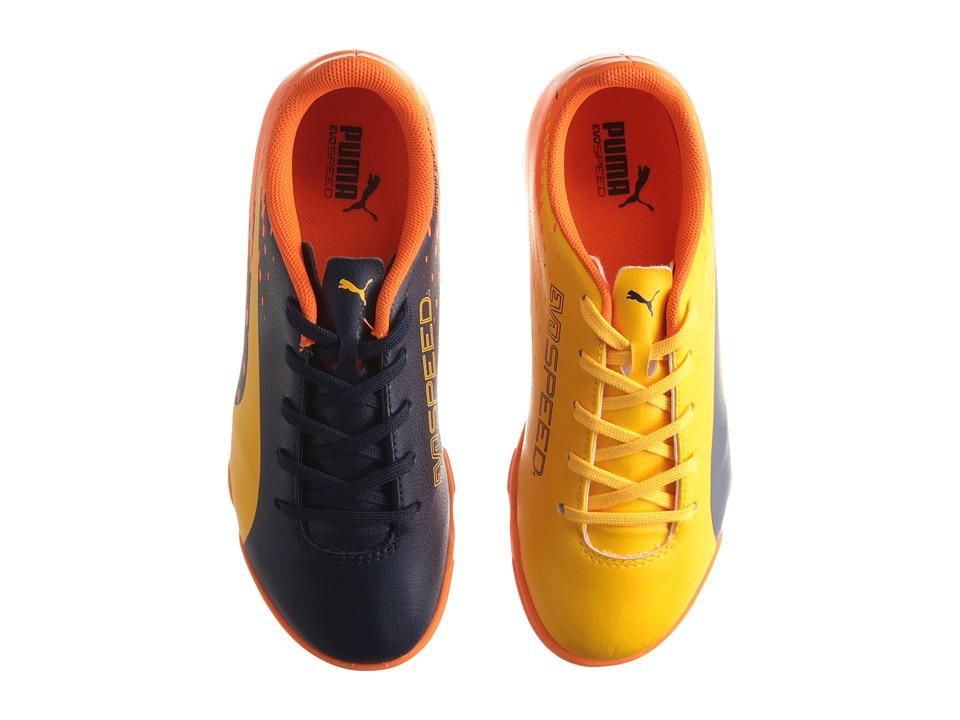 Puma Kids evoSPEED 17.5 IT Jr Soccer (Little Kid/Big Kid) (Ultra Yellow/Peacoat/Orange Clown Fish) Kids Shoes
