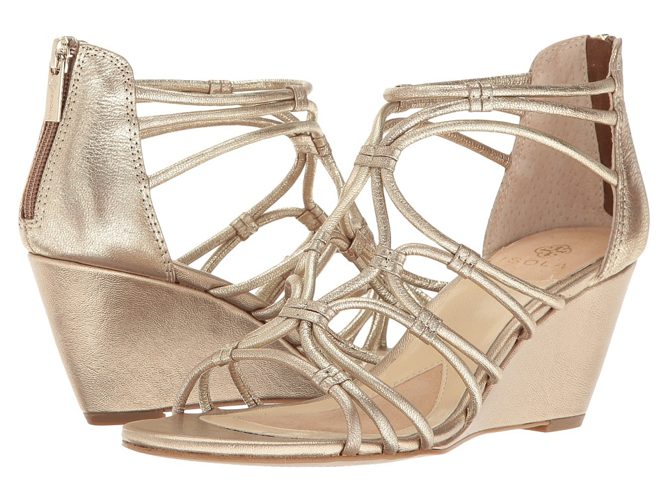 Isola - Floral (Satin Gold Grid Metallic) Women's Wedge Shoes