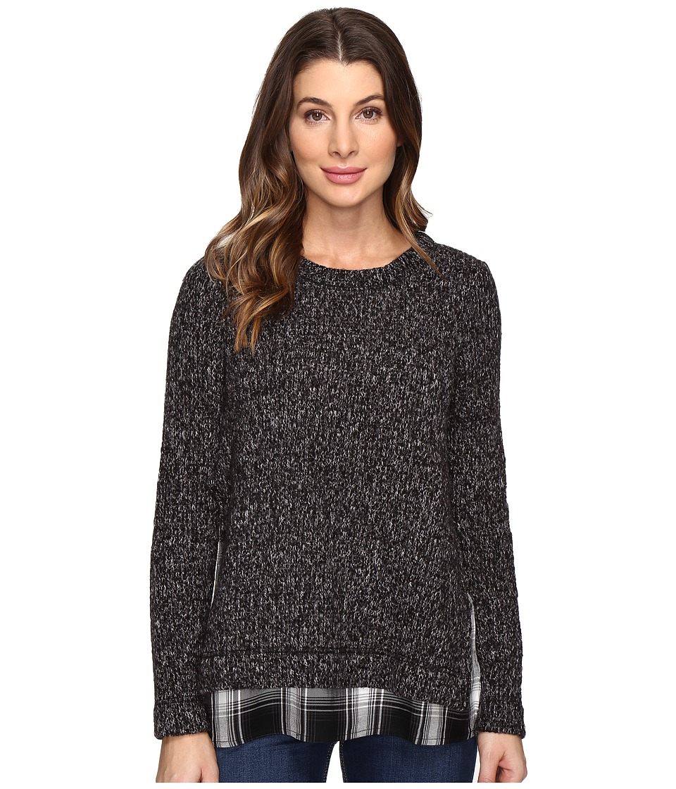 Sanctuary - The One N' Done Sweater (Black Melange/Benatar Plaid) Women's Sweater