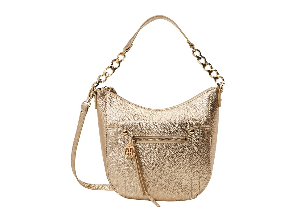 Tommy Hilfiger - Tessa Pebble Hobo (Metallic Gold) Hobo Handbags