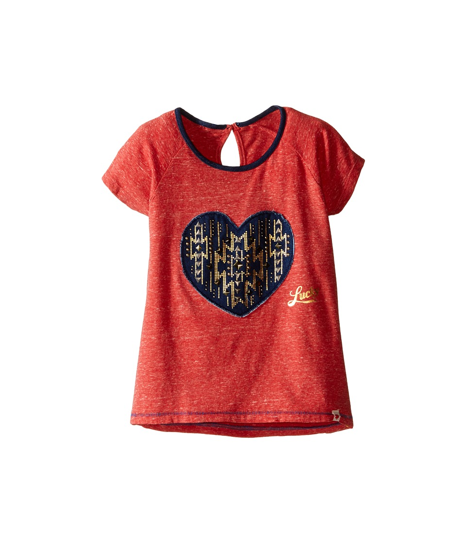 Lucky Brand Kids Short Raglan Sleeve Tee with Heart Applique (Little Kids) (Molton Lava) Girl