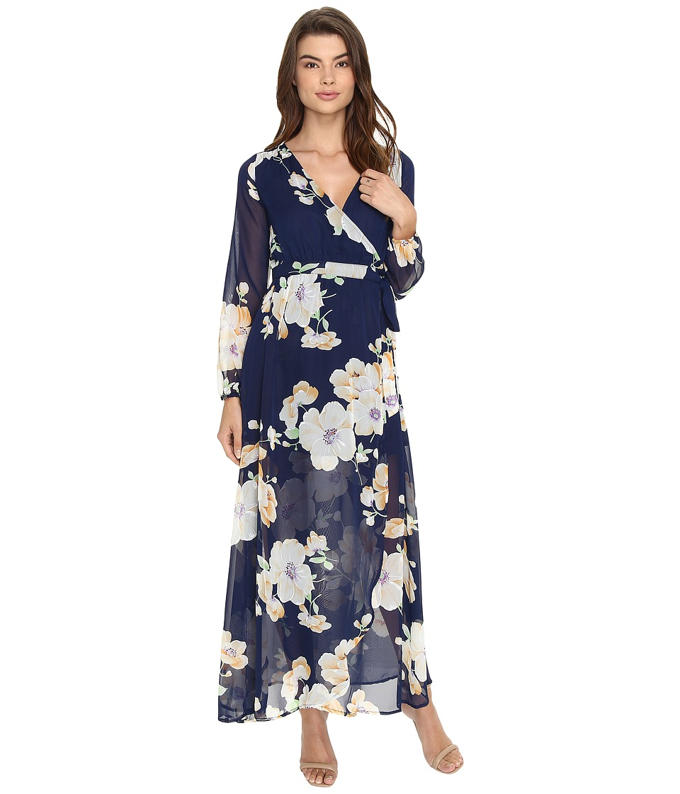 Brigitte Bailey - Tilda Floral Print Maxi Wrap Dress (Navy/Multi) Women's Dress