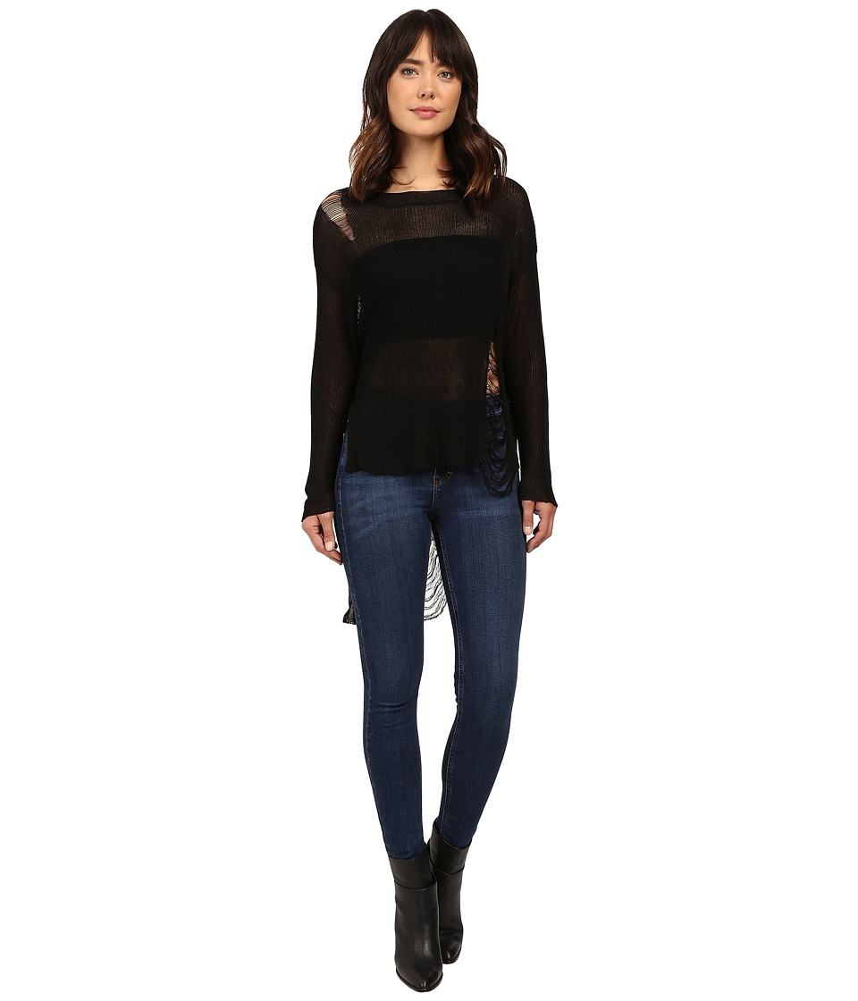 Brigitte Bailey - Simi High-Low Sweater with Holes (Black) Women's Sweater