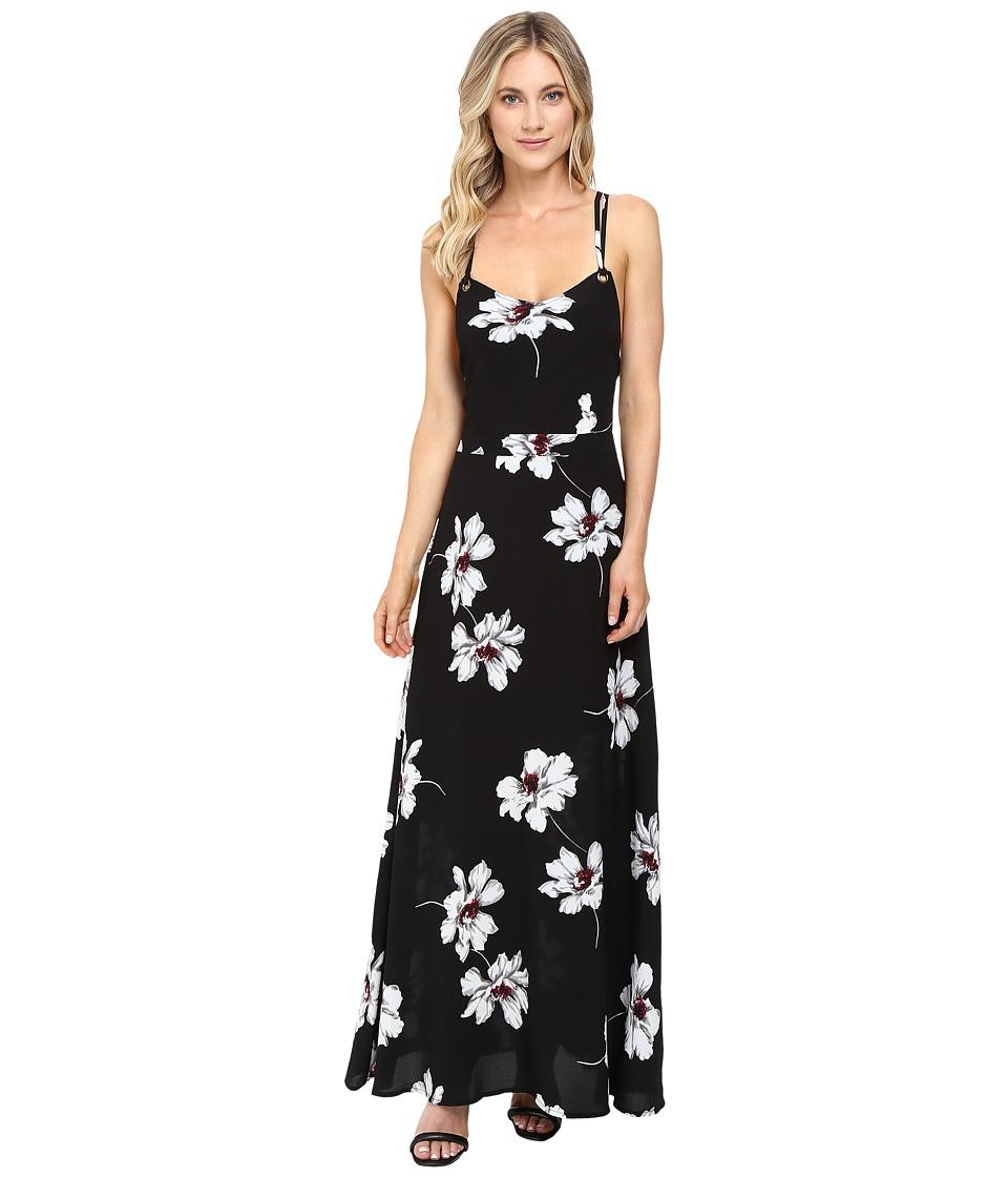 Brigitte Bailey - Surya Spaghetti Strap Maxi Dress with Open Back (Black/White) Women's Dress