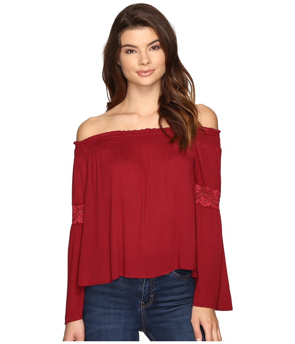 Brigitte Bailey - Sula Off the Shoulder Top with Lace Inset (Burgundy) Women's Clothing