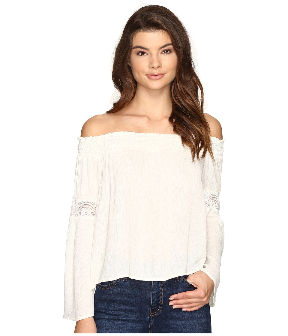Brigitte Bailey - Sula Off the Shoulder Top with Lace Inset (Off-White) Women's Clothing