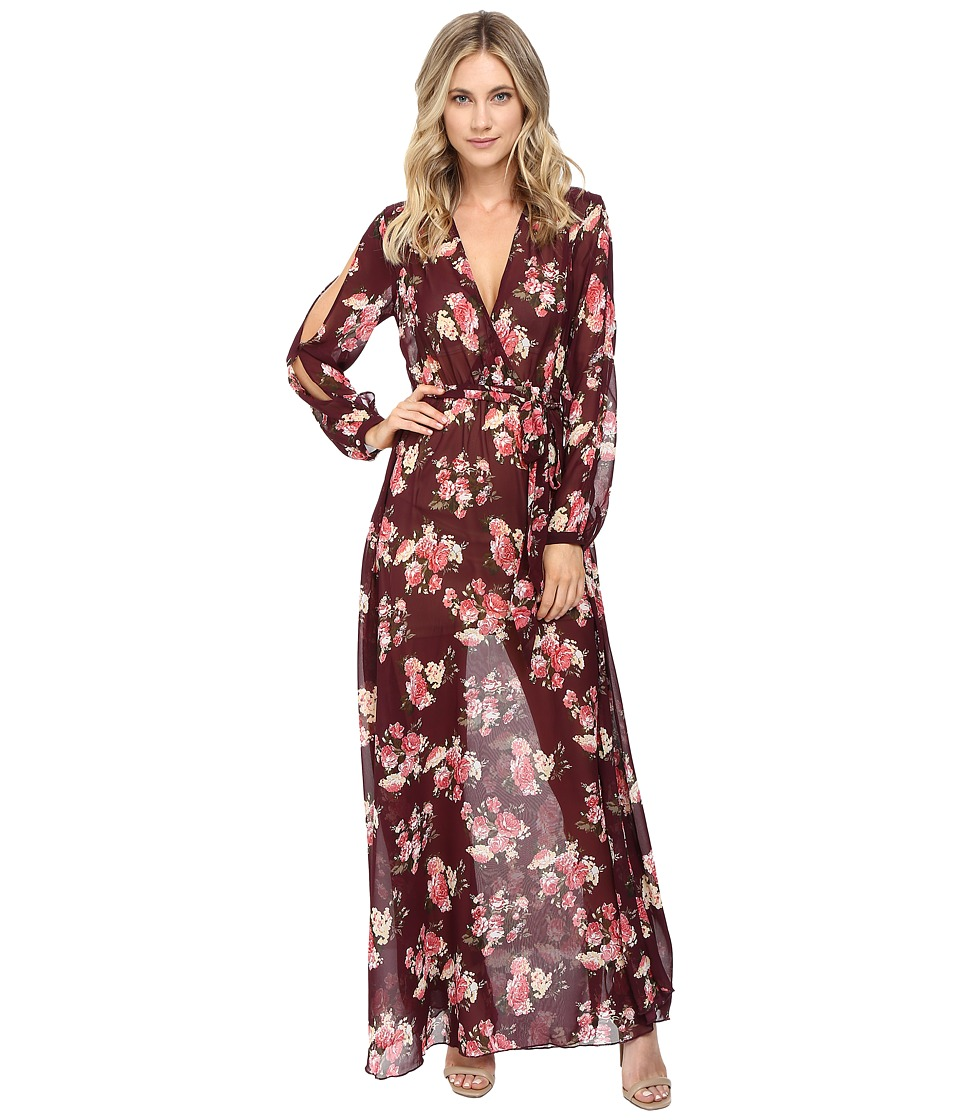 Brigitte Bailey - Maelys Cold Shoulder Maxi Dress (Burgundy/Multi) Women's Dress