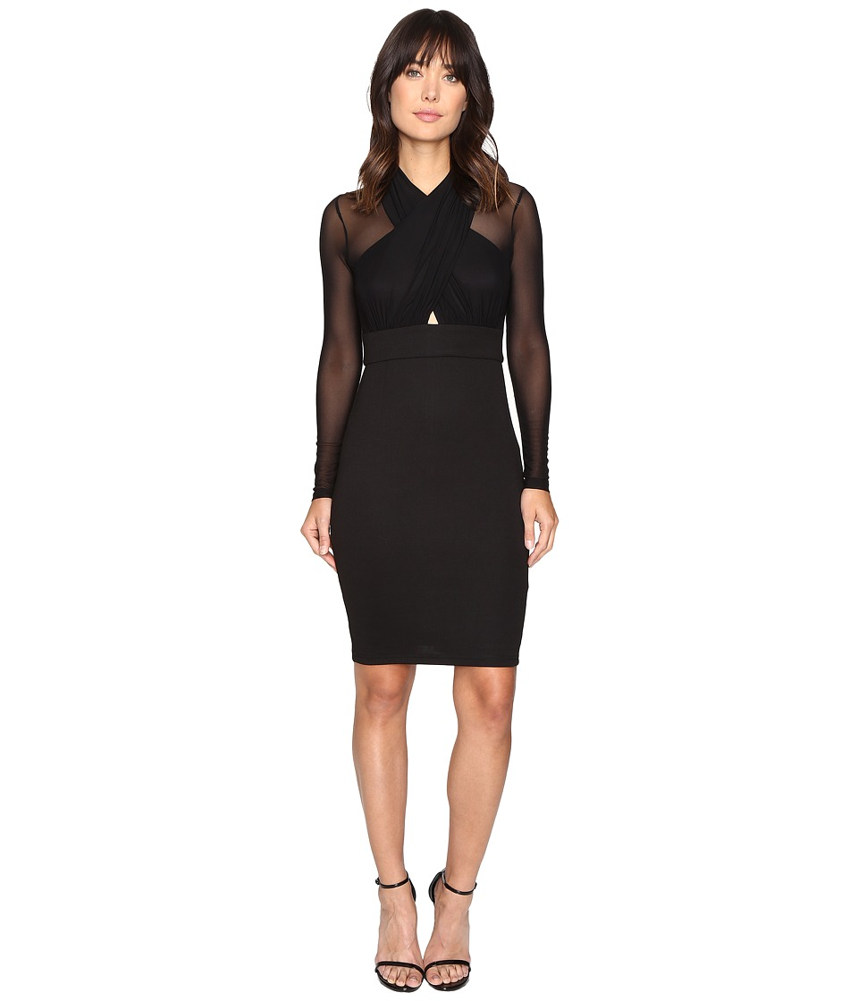 Brigitte Bailey - Reeve Cross-Front Bodycon Dress with Mesh (Black) Women's Dress