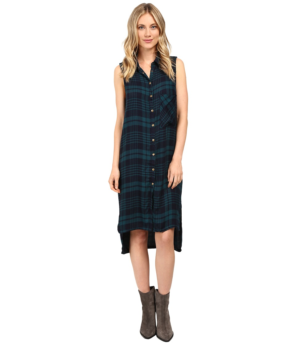 Brigitte Bailey - Tulsi Sleeveless Plaid Dress with Grommet Detail (Navy/Green) Women's Dress