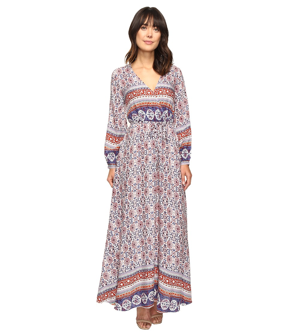 Brigitte Bailey - Ravenna Long Sleeve V-Neck Maxi Dress (Rust/Navy) Women's Dress