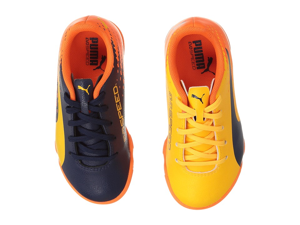 Puma Kids - evoSPEED 17.5 TT Jr Soccer (Little Kid/Big Kid) (Ultra Yellow/Peacoat/Orange Clown Fish) Kids Shoes