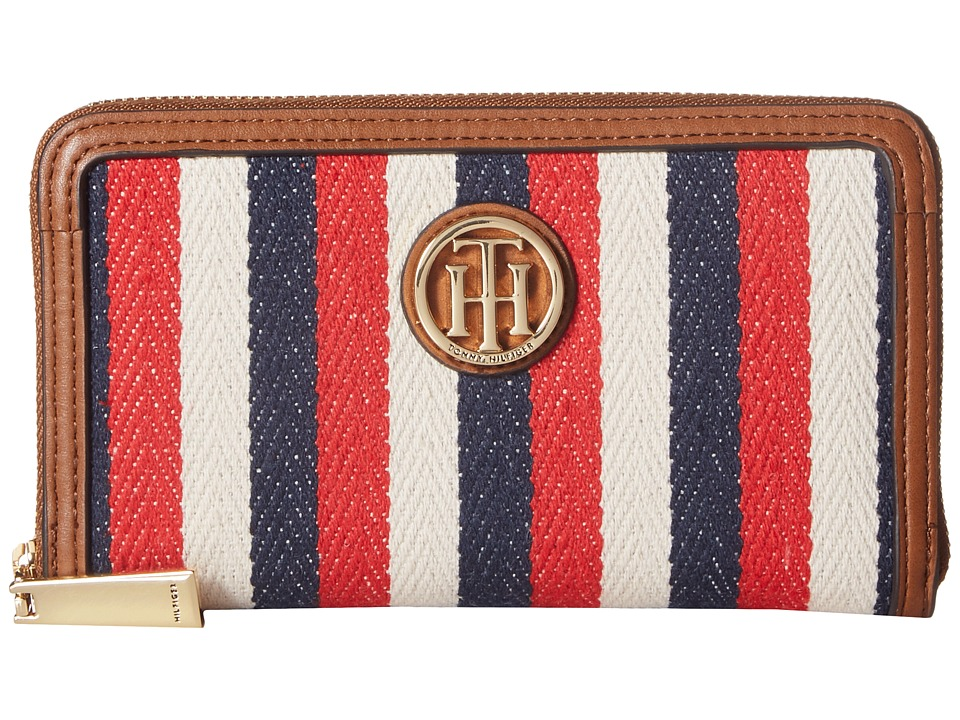 Tommy Hilfiger - TH Serif Signature - Medium Zip Around (Navy/Multi) Wallet Handbags