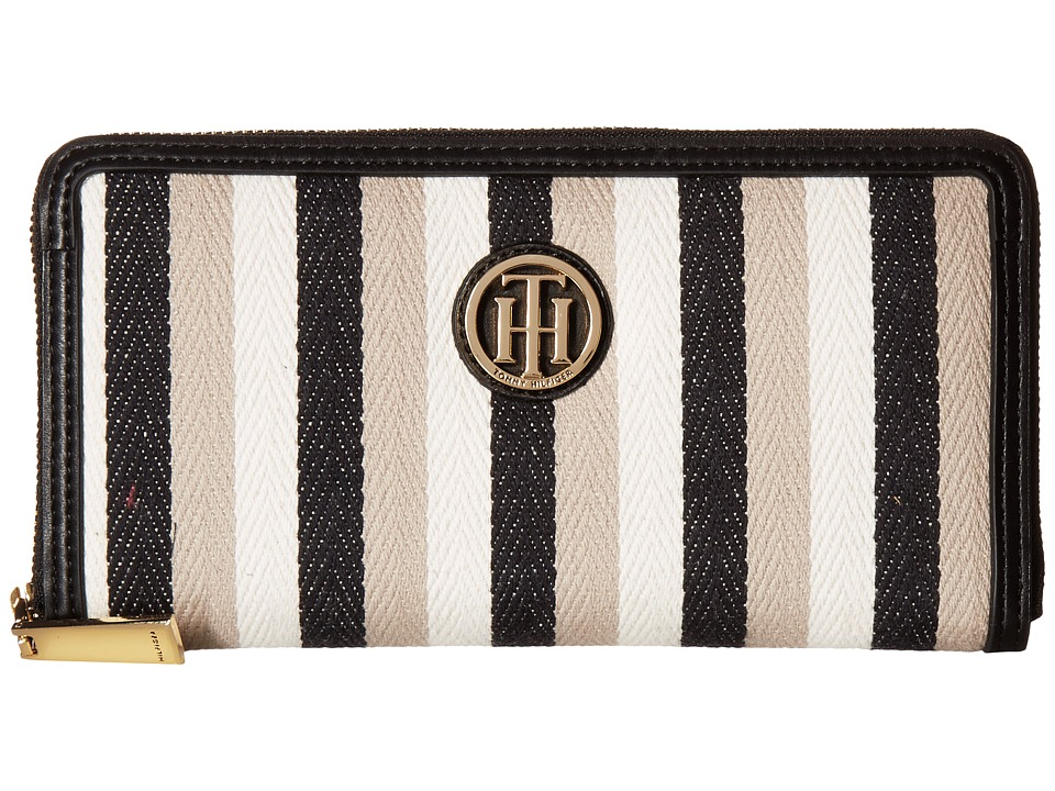 Tommy Hilfiger - TH Serif Signature - Large Zip Around (Black/Multi) Handbags