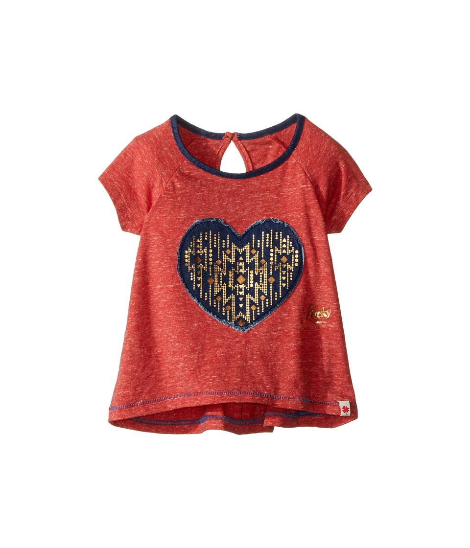 Lucky Brand Kids - Short Raglan Sleeve Tee with Heart Applique (Toddler) (Molton Lava) Girl's T Shirt
