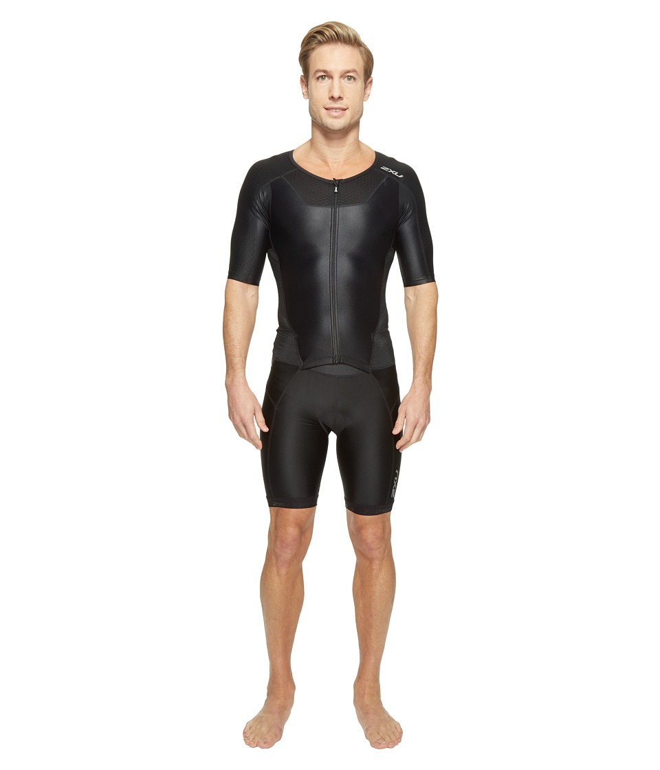 2XU - X-Vent Full Zip Trisuit (Black/Black) Men's Race Suits One Piece