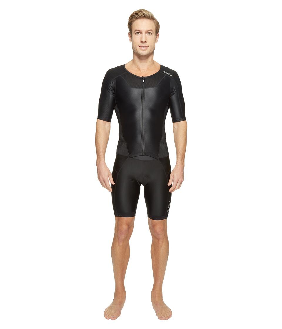 2XU - X-Vent Full Zip Trisuit (Black/Black) Men's Race Suits One Piece
