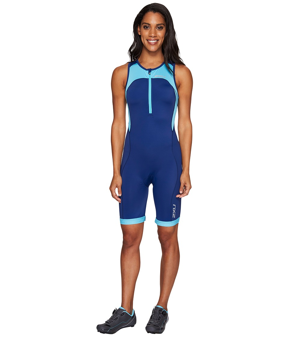 Image of 2XU - Active Trisuit (Blue Atoll/Navy) Women's Race Suits One Piece