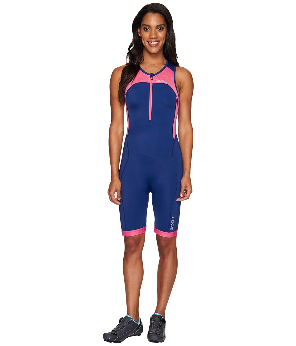 2XU - Active Trisuit (Fandango Pink/Navy) Women's Race Suits One Piece