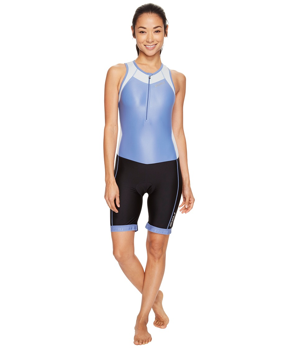2XU - X-Vent Front Zip Trisuit (Colony Blue/Black) Women's Race Suits One Piece