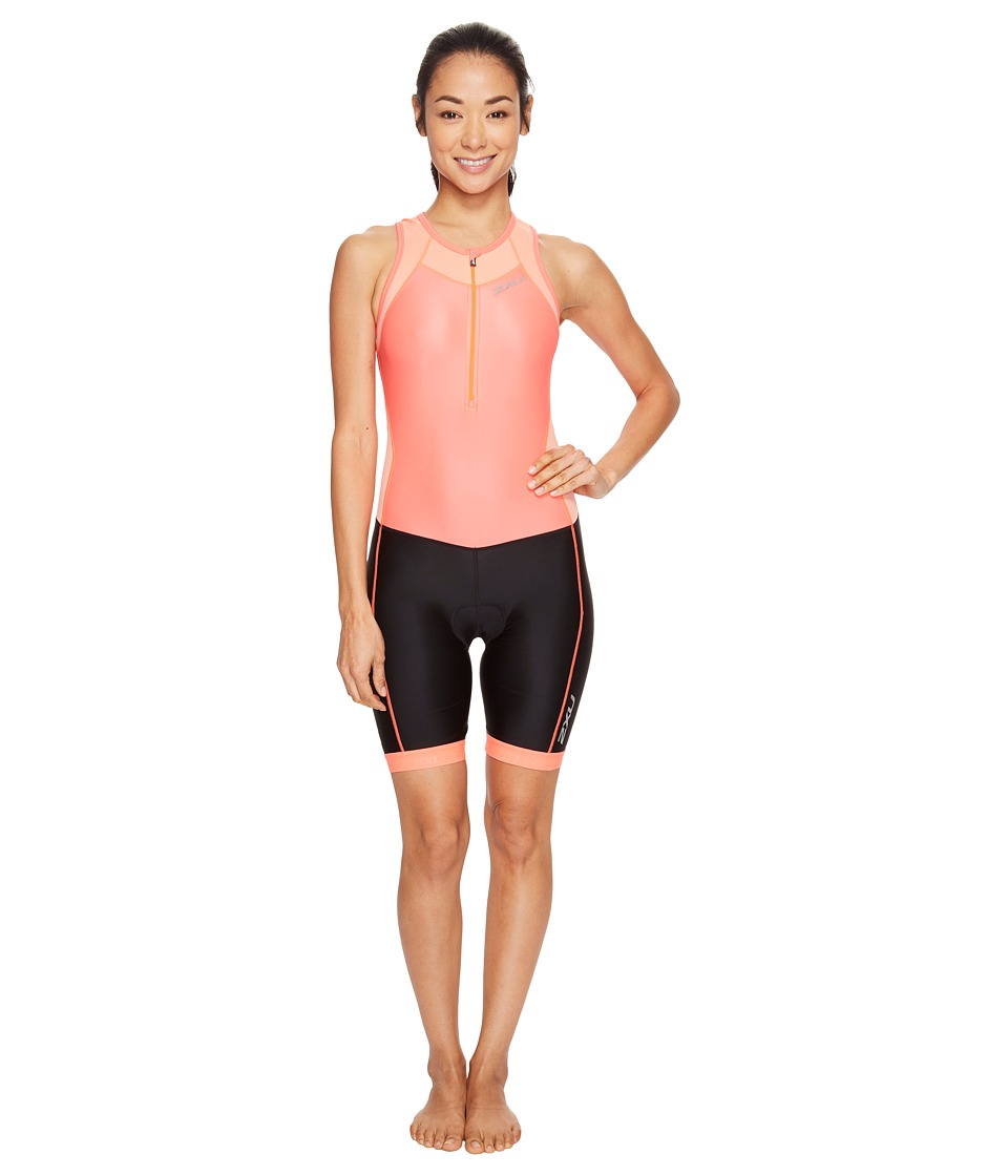2XU - X-Vent Front Zip Trisuit (Fiery Coral/Black) Women's Race Suits One Piece
