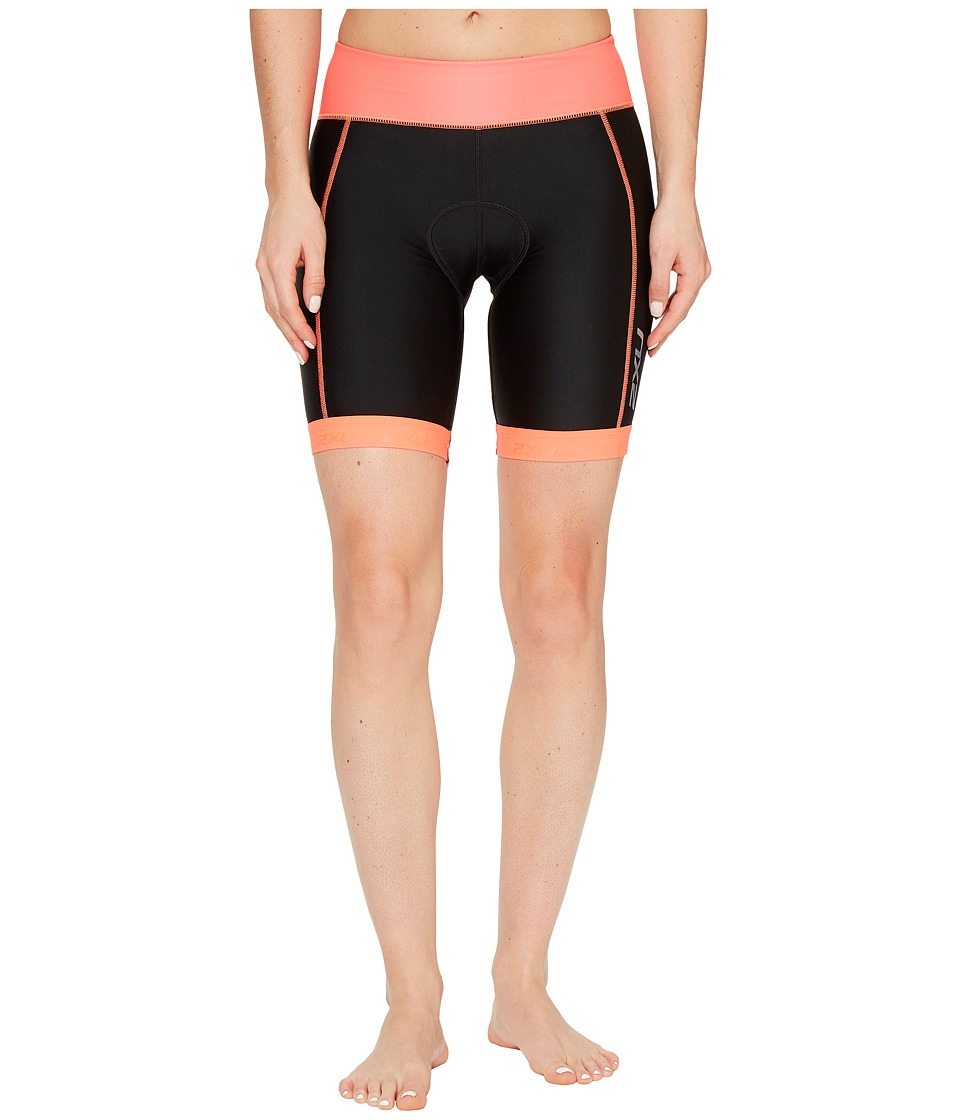 2XU - X-Vent 7 Tri Shorts (Black/Fiery Coral) Women's Shorts