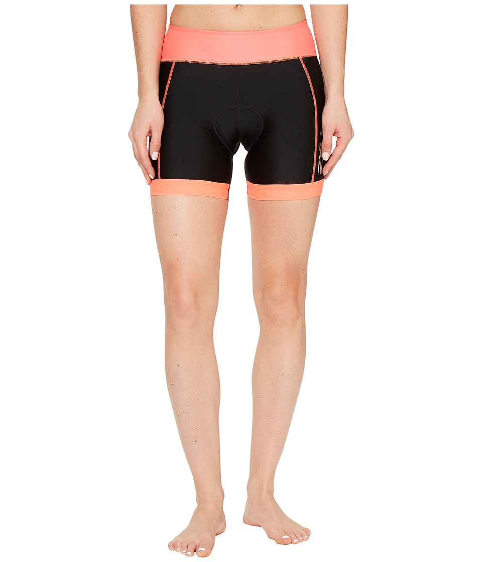 2XU - X-Vent 4.5 Tri Shorts (Black/Fiery Coral) Women's Shorts