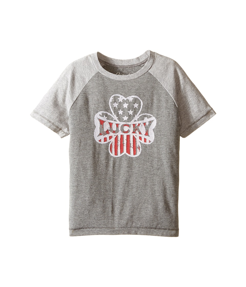 Lucky Brand Kids Raglan Short Sleeve Tee with Clover/Lucky Screen Print (Toddler) (Dark Heather) Boy