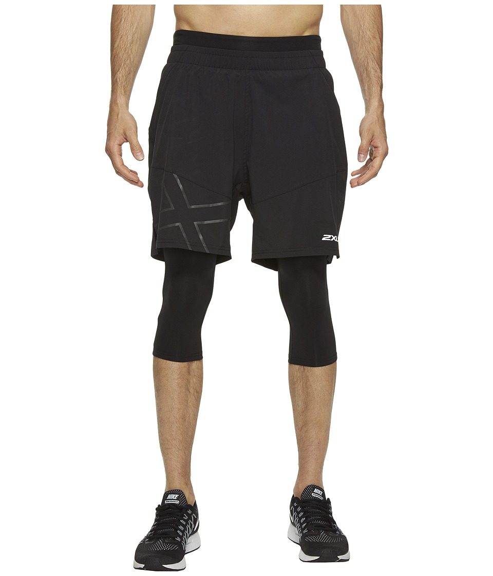2XU - X-CTRL 7 Shorts w/ Compression (Black/Black) Men's Shorts