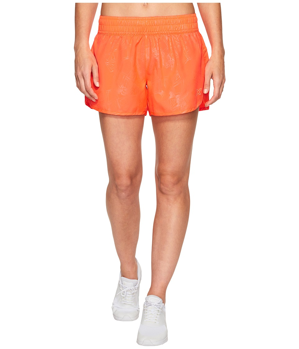 2XU - X-Vent 4 Shorts w/ Brief (Fiery Coral Prism Emboss/Colony Blue) Women's Shorts