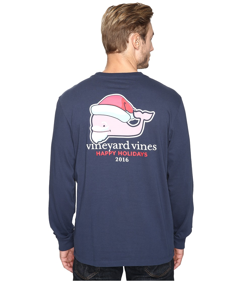 Vineyard Vines - Long Sleeve Bearded Santa Whale Pocket T-Shirt (Blue Blazer) Men's T Shirt