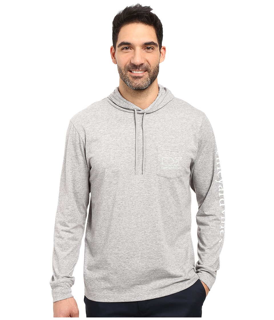 Vineyard Vines - Long Sleeve Heather Whale Hoodie Pocket T-Shirt (Medium Heather Gray) Men's T Shirt