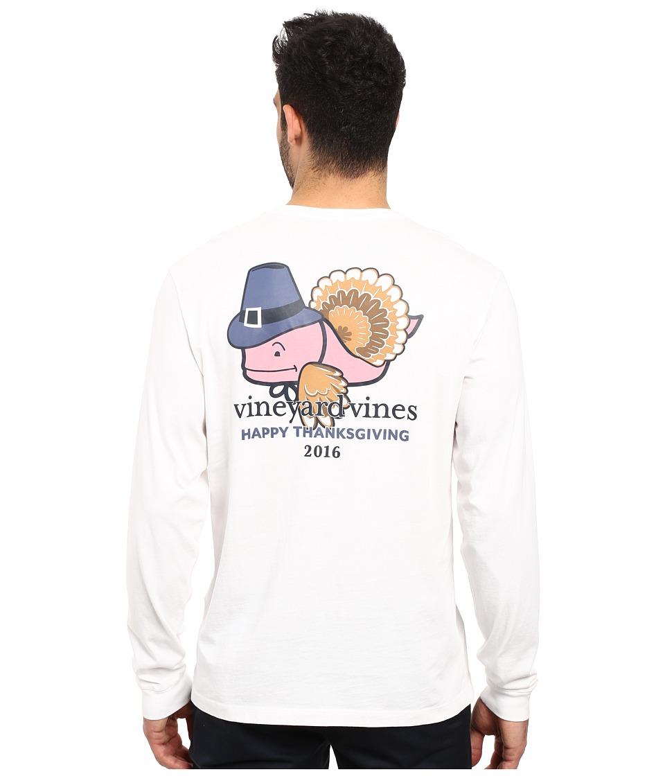 Vineyard Vines - Long Sleeve Turkey Whale Pocket T-Shirt (White Cap) Men's T Shirt