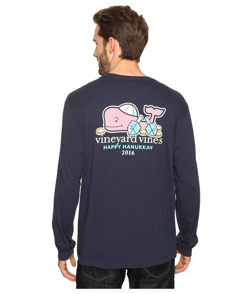 Vineyard Vines - Long Sleeve Hanukkah Whale Pocket T-Shirt (Blue Blazer) Men's T Shirt