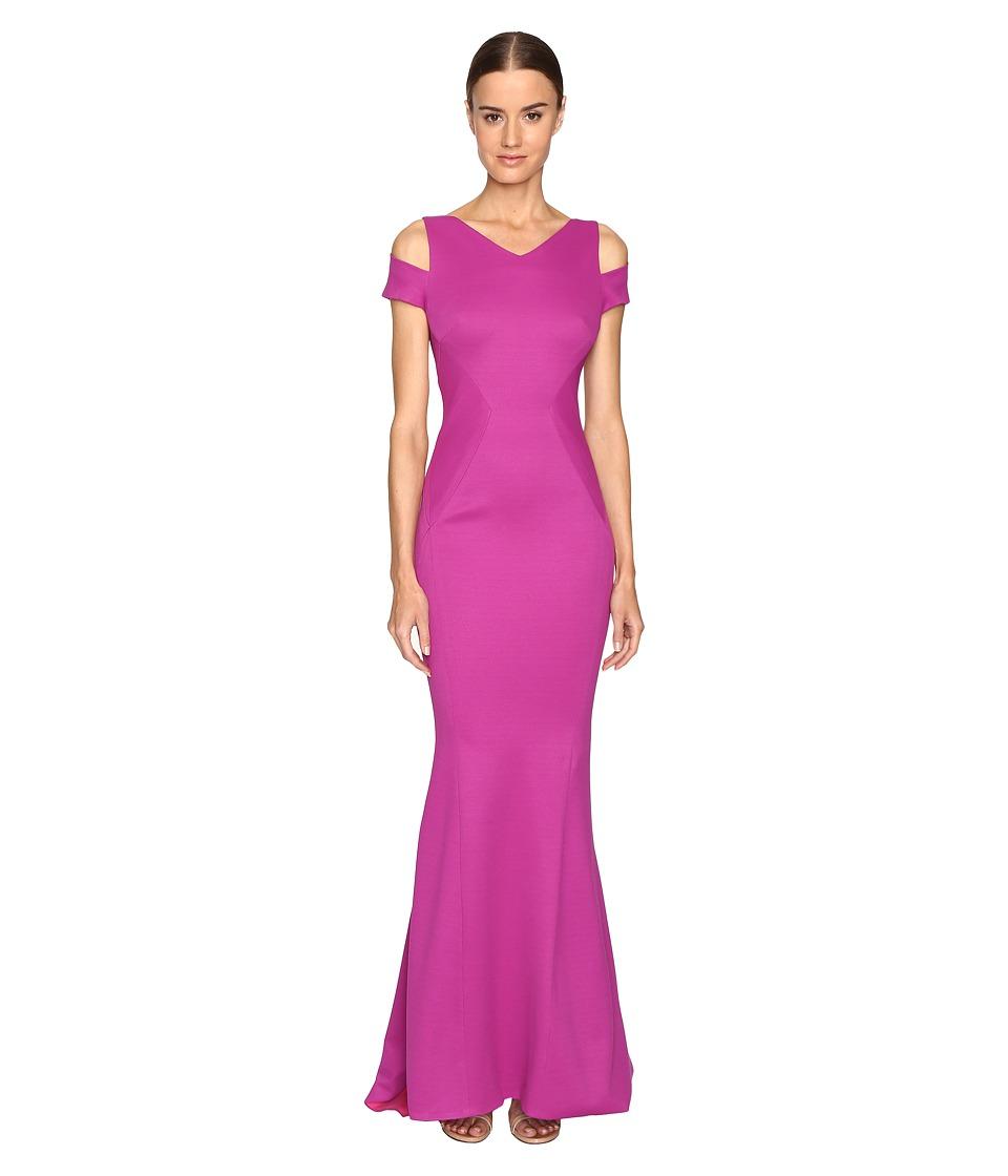Zac Posen - Bondage Jersey Cold Shoulder Gown (Magenta) Women's Dress