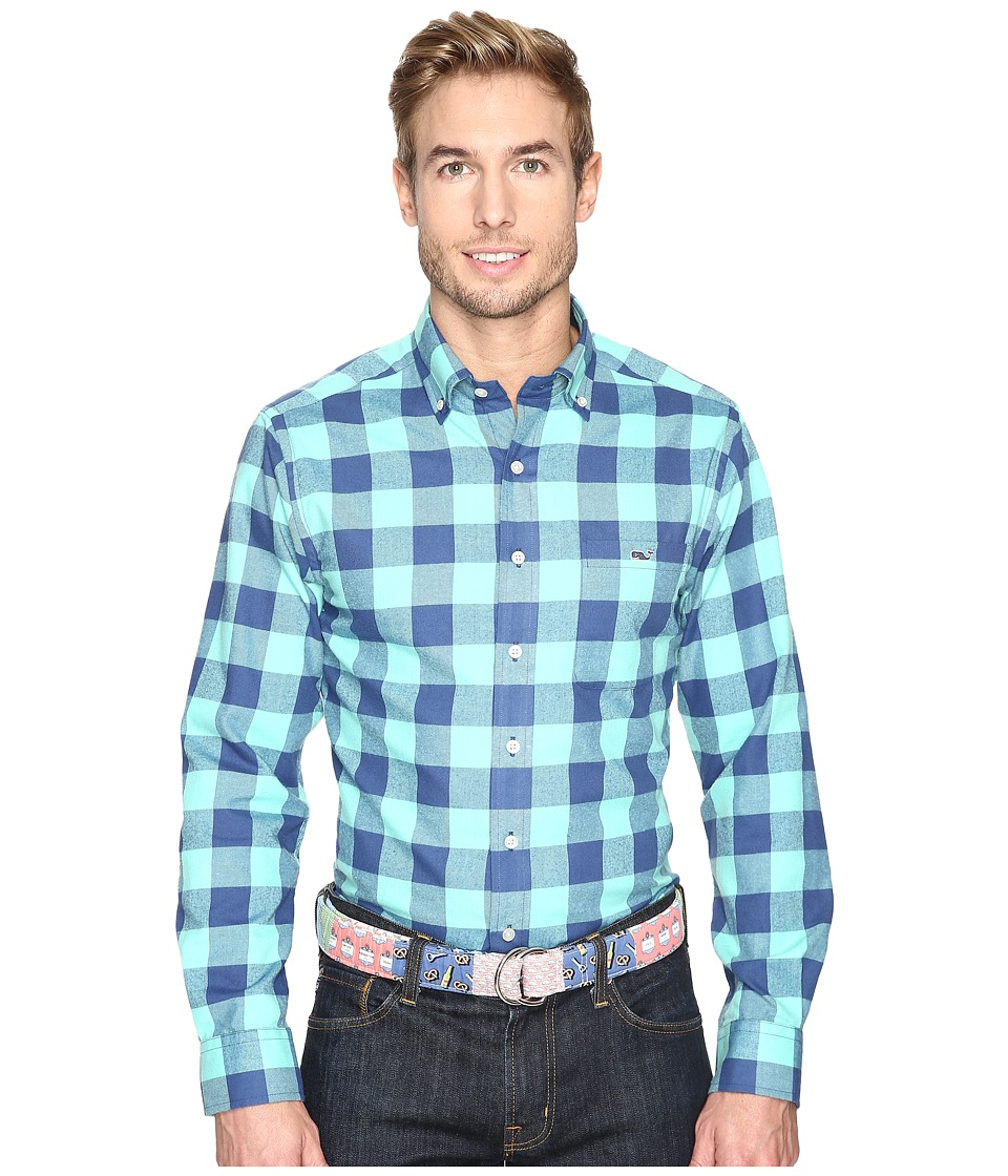 Vineyard Vines - Fishbar Performance Flannel Slim Tucker Shirt (Capri Blue) Men's Clothing