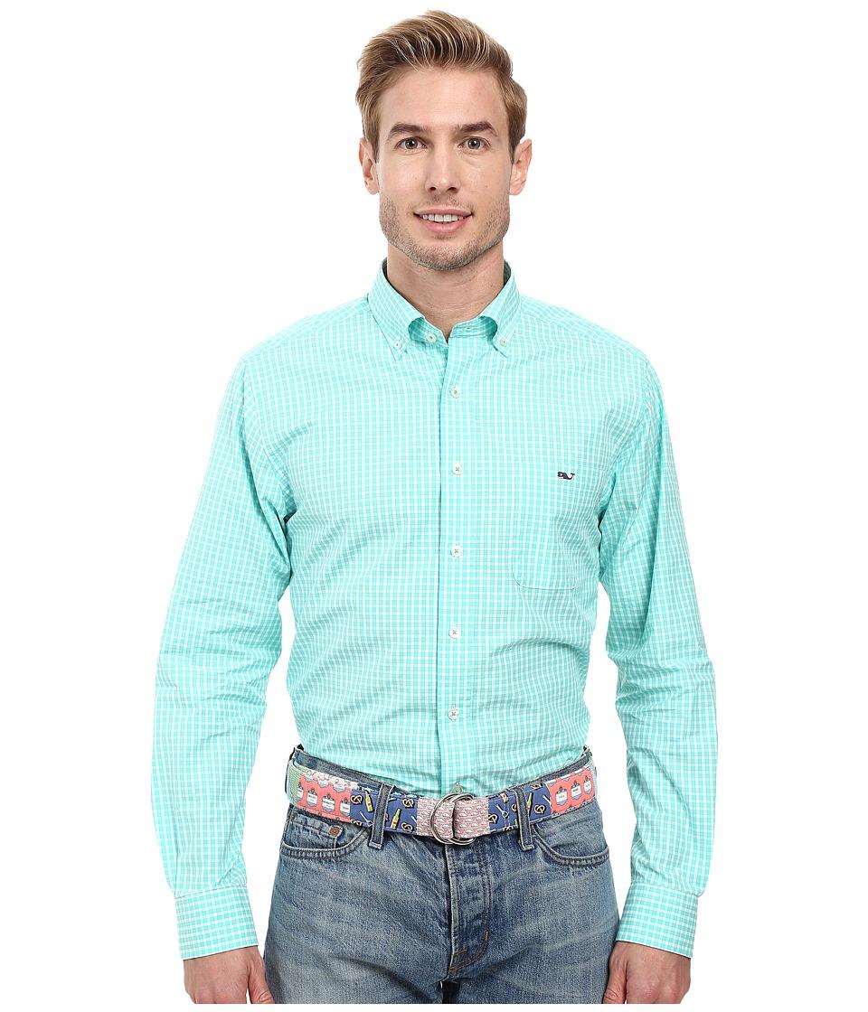 Vineyard Vines - Seabrook Gingham Slim Tucker Shirt (Capri Blue) Men's Long Sleeve Button Up