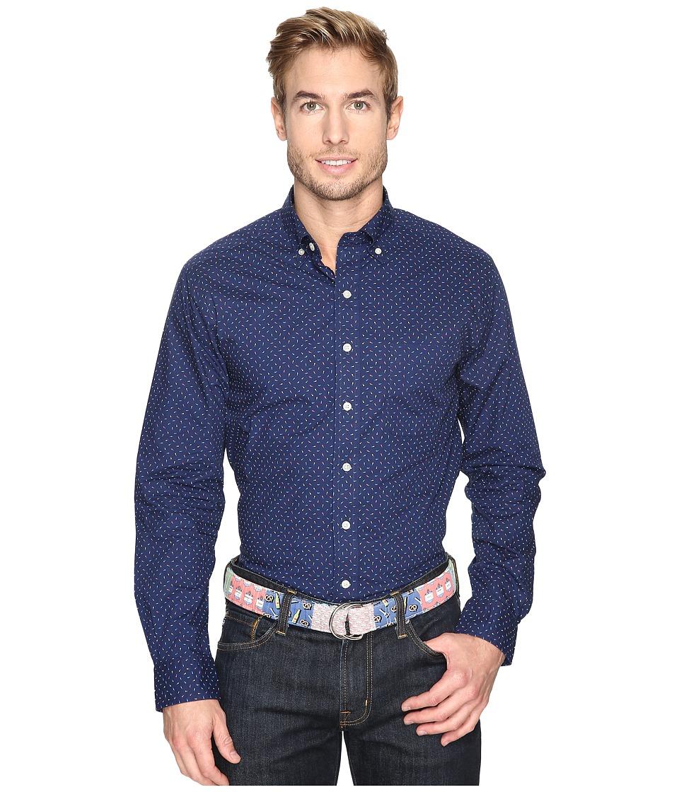 Vineyard Vines - Micro Christmas Lights Slim Murray Shirt (Deep Bay) Men's Clothing