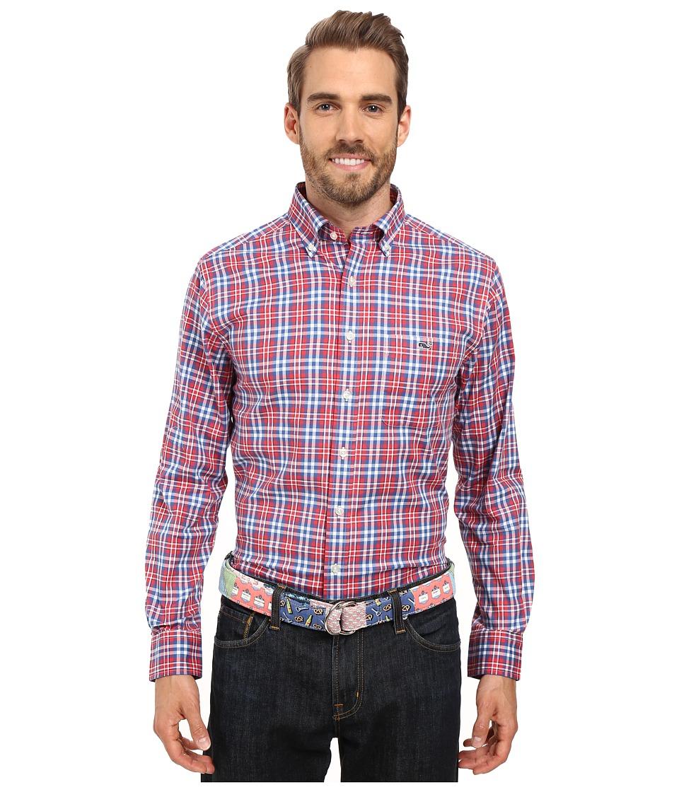 Vineyard Vines - Gilberts Pond Plaid Slim Tucker Shirt (Firecracker) Men's Long Sleeve Button Up