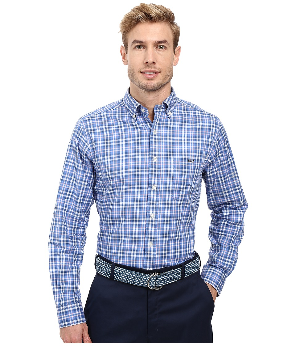 Vineyard Vines - Gilberts Pond Plaid Slim Tucker Shirt (Bahama Breeze) Men's Long Sleeve Button Up