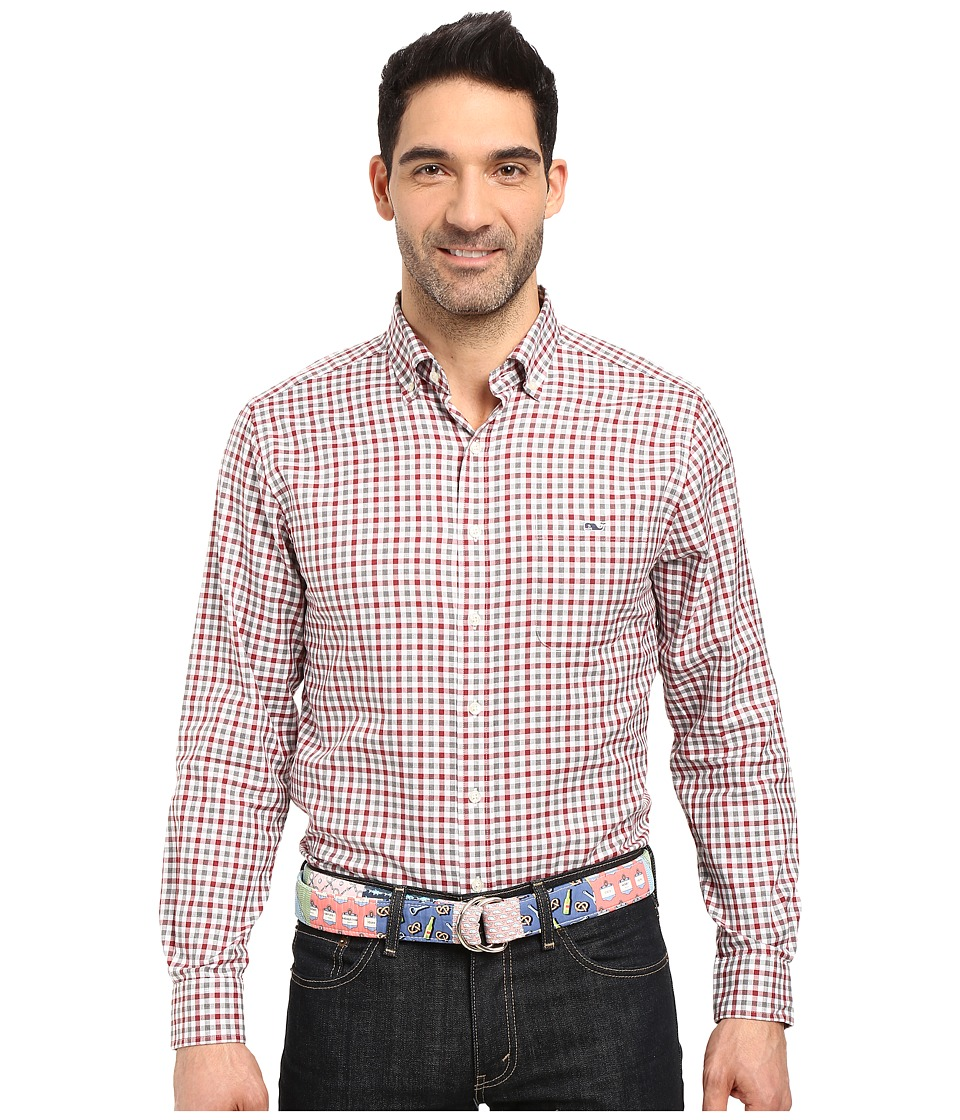 Vineyard Vines - Meadowbrook Gingham Slim Tucker Shirt (Graphite) Men's Clothing
