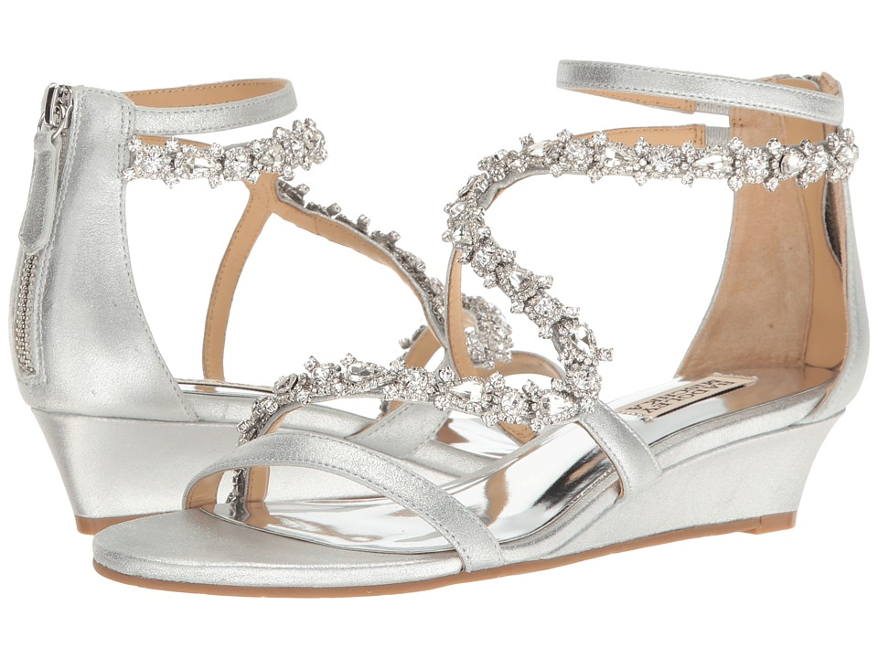Badgley Mischka - Belvedere (Silver Metallic Suede) Women's Wedge Shoes