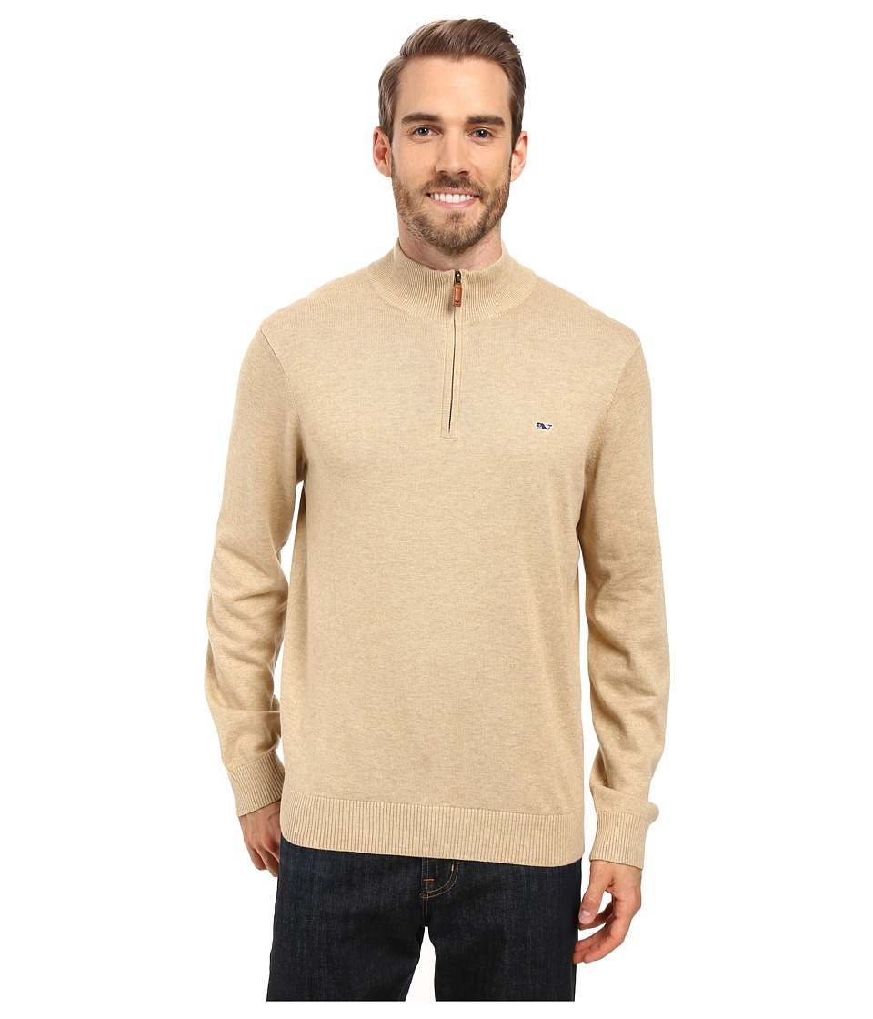 Vineyard Vines - Cotton 1/4 Zip (Oatmeal Heather) Men's Clothing