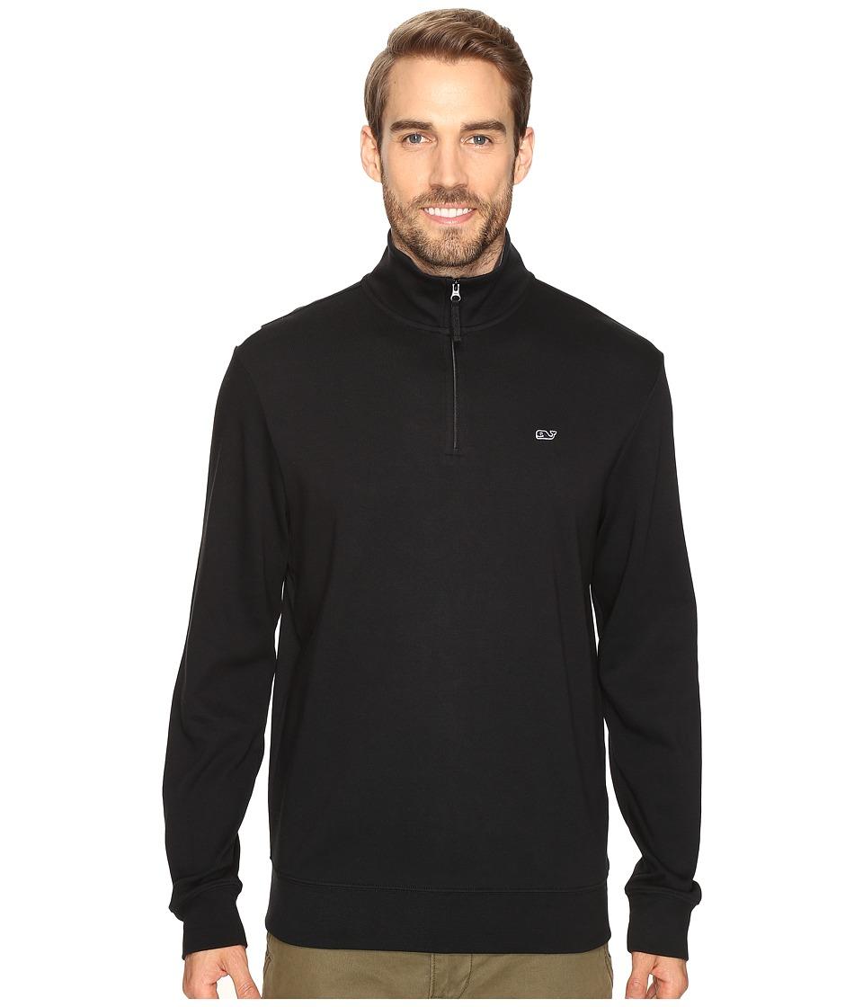Vineyard Vines - Cotton Jersey 1/4 Zip (Jet Black) Men's Clothing