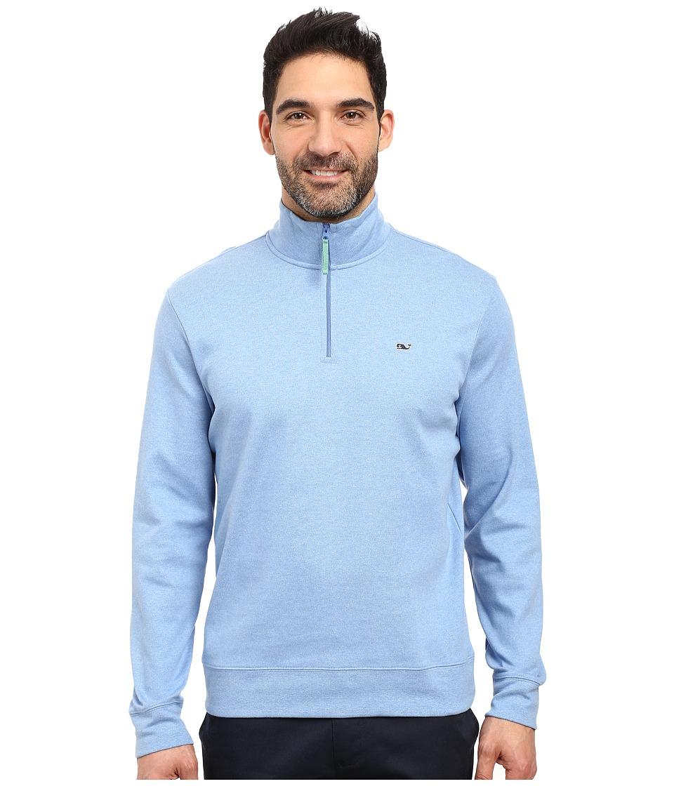 Vineyard Vines - Heather Cotton Jersey 1/4 (Breaker Blue) Men's Clothing