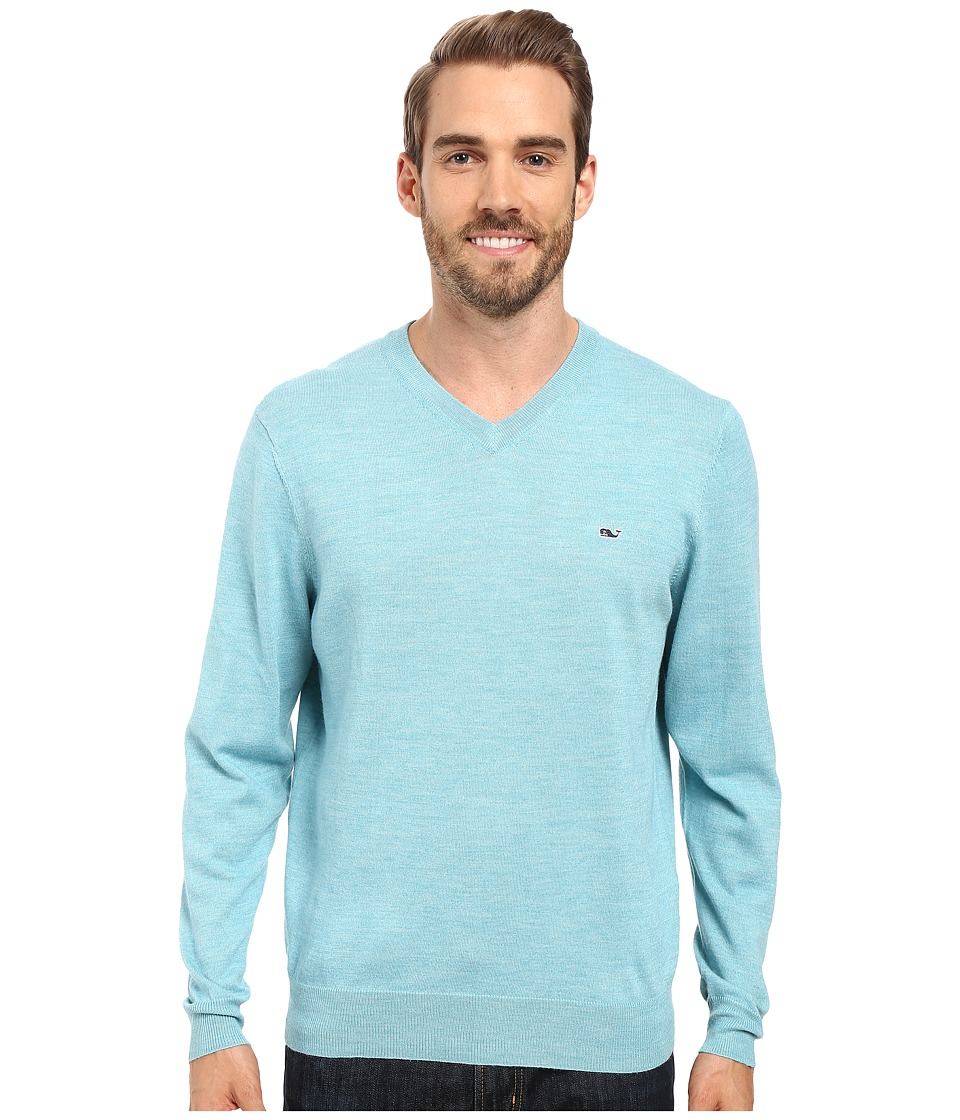 Vineyard Vines Performance Merino Whale V-Neck Shirt (Turquoise) Men