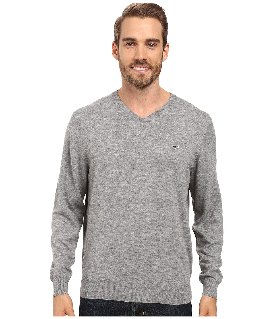 Vineyard Vines Performance Merino Whale V-Neck Shirt (Gray Heather) Men